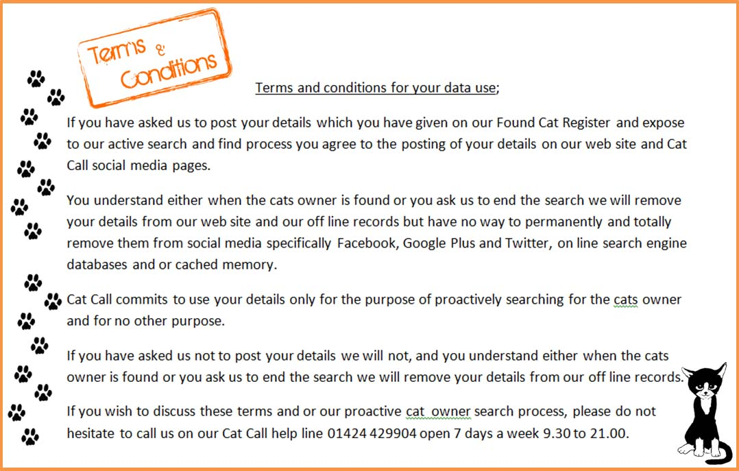Cat Call Terms & Conditions for use of your details - Found Cat