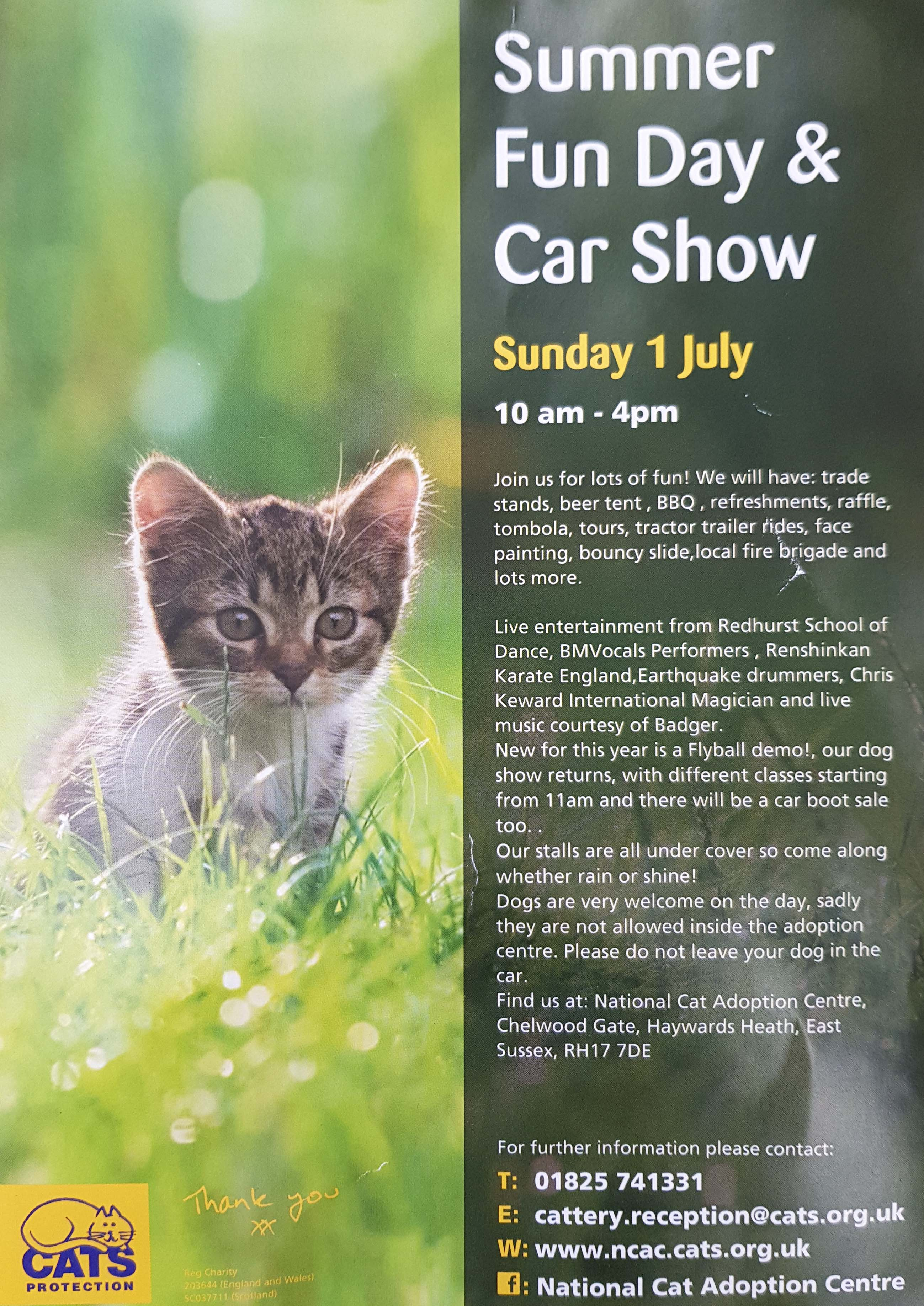 Cats Protection Summer Fun Day 1st July