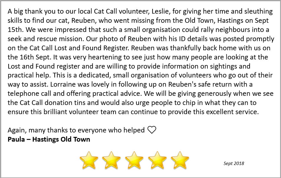 5 star review for Cat Call Hastings