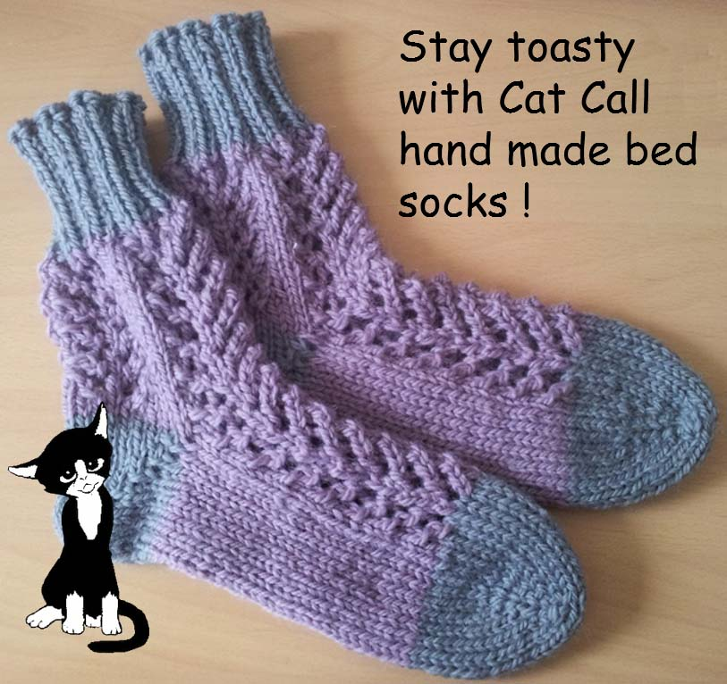 Stay toasty with Cat Call bed socks
