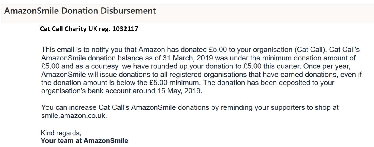 Donation from you all using Amzon Smile - Every penny helps